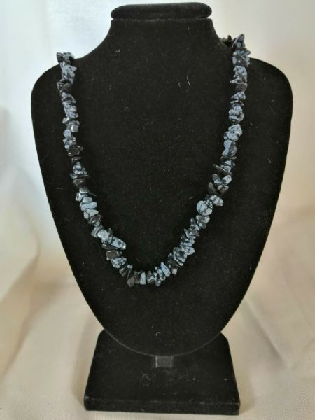 "Snowflake Obsidian Chip Necklace 16"" to 34"", Long Necklace, Short Necklace"